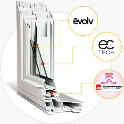 Window frame logos: evolv, ec tech and owen corning