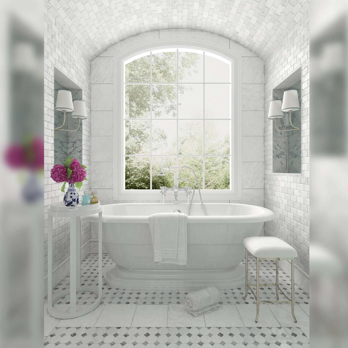 An alumhybrid architechtural white window in a white bathroom with a view of the outside greenery.