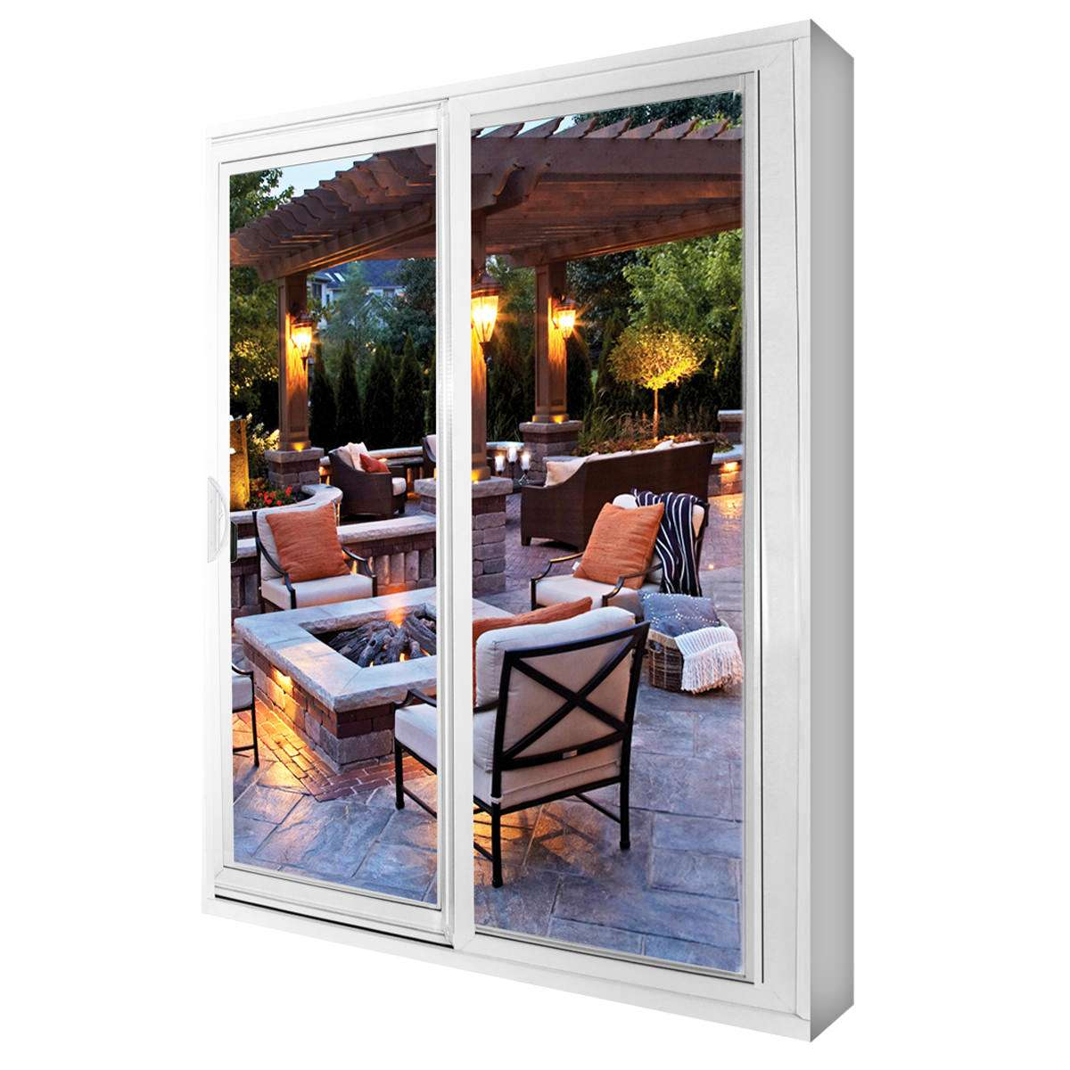 A white patio door with a backyard patio set in the background.