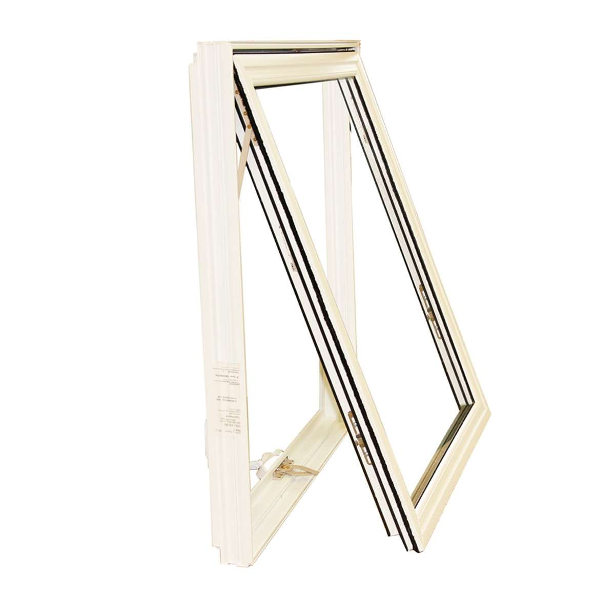 Side view of an open white awning window