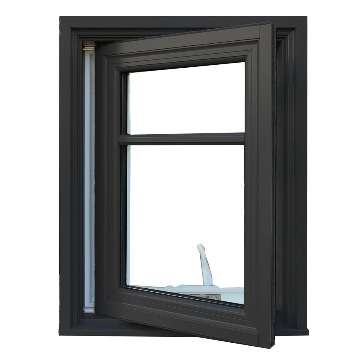 An open dark Alumhybrid casement window