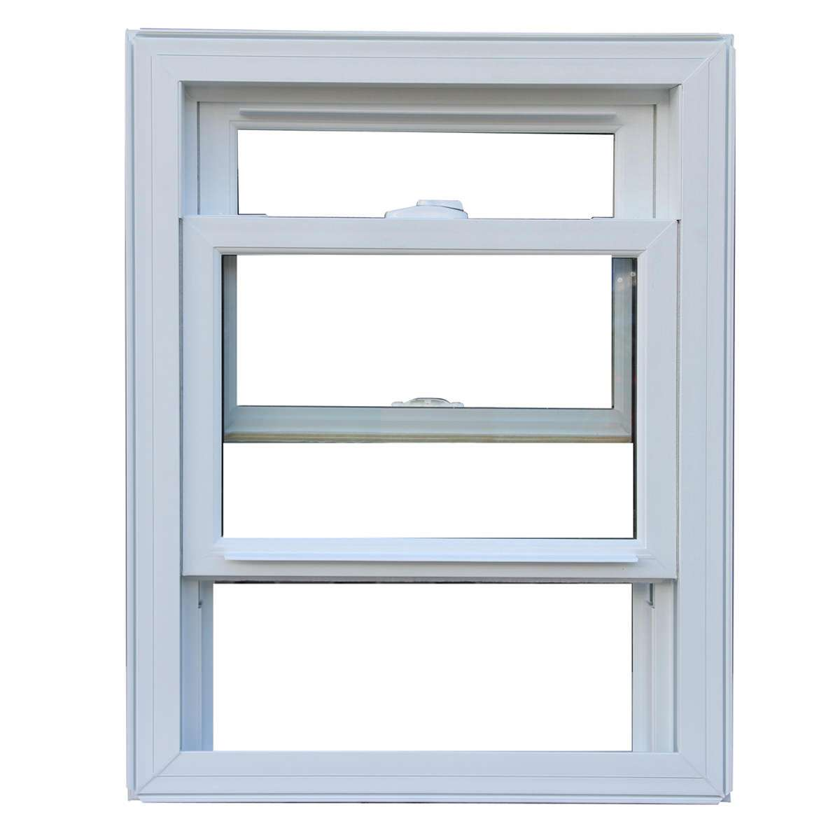 Open white Alumybrid hung window