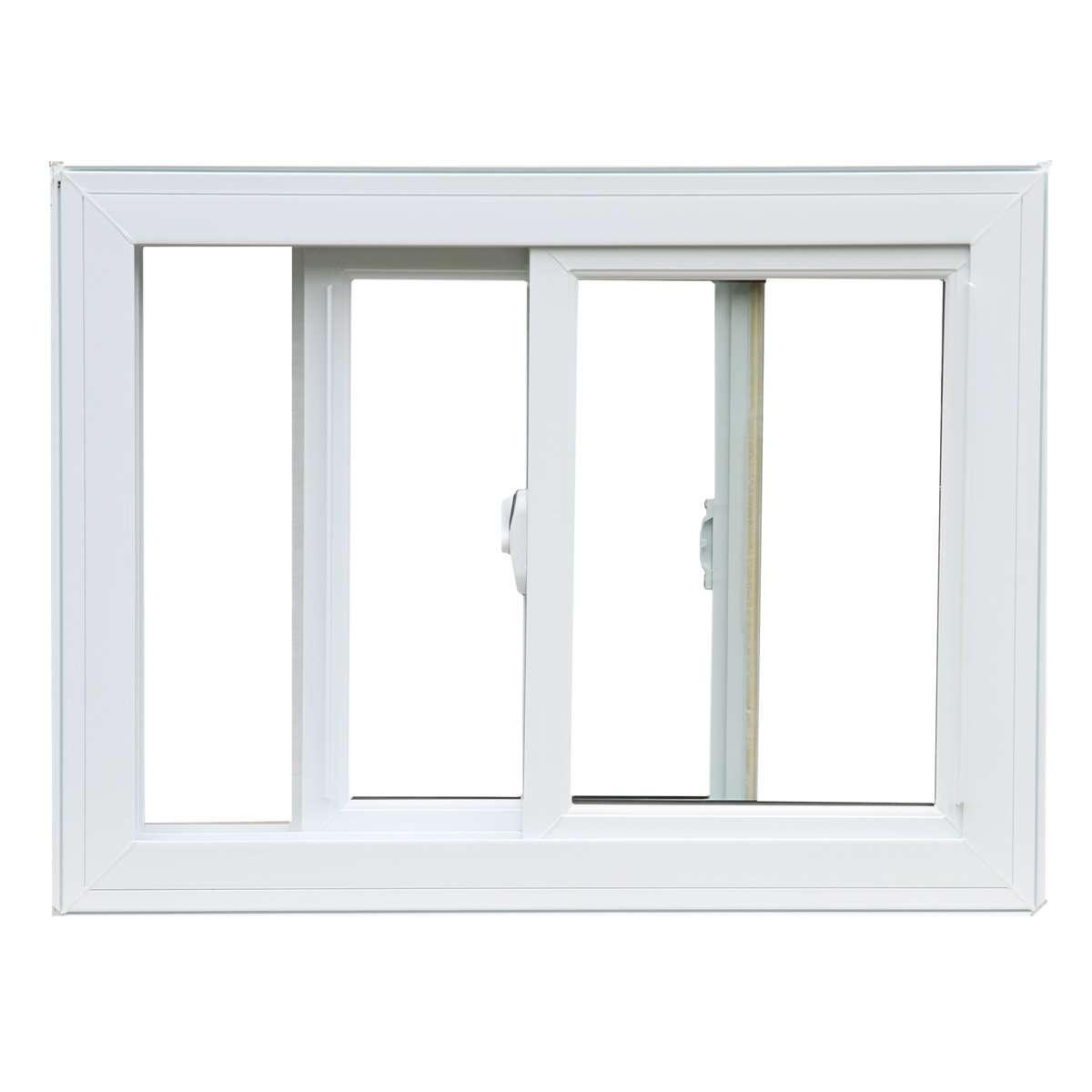 An open white sliding window