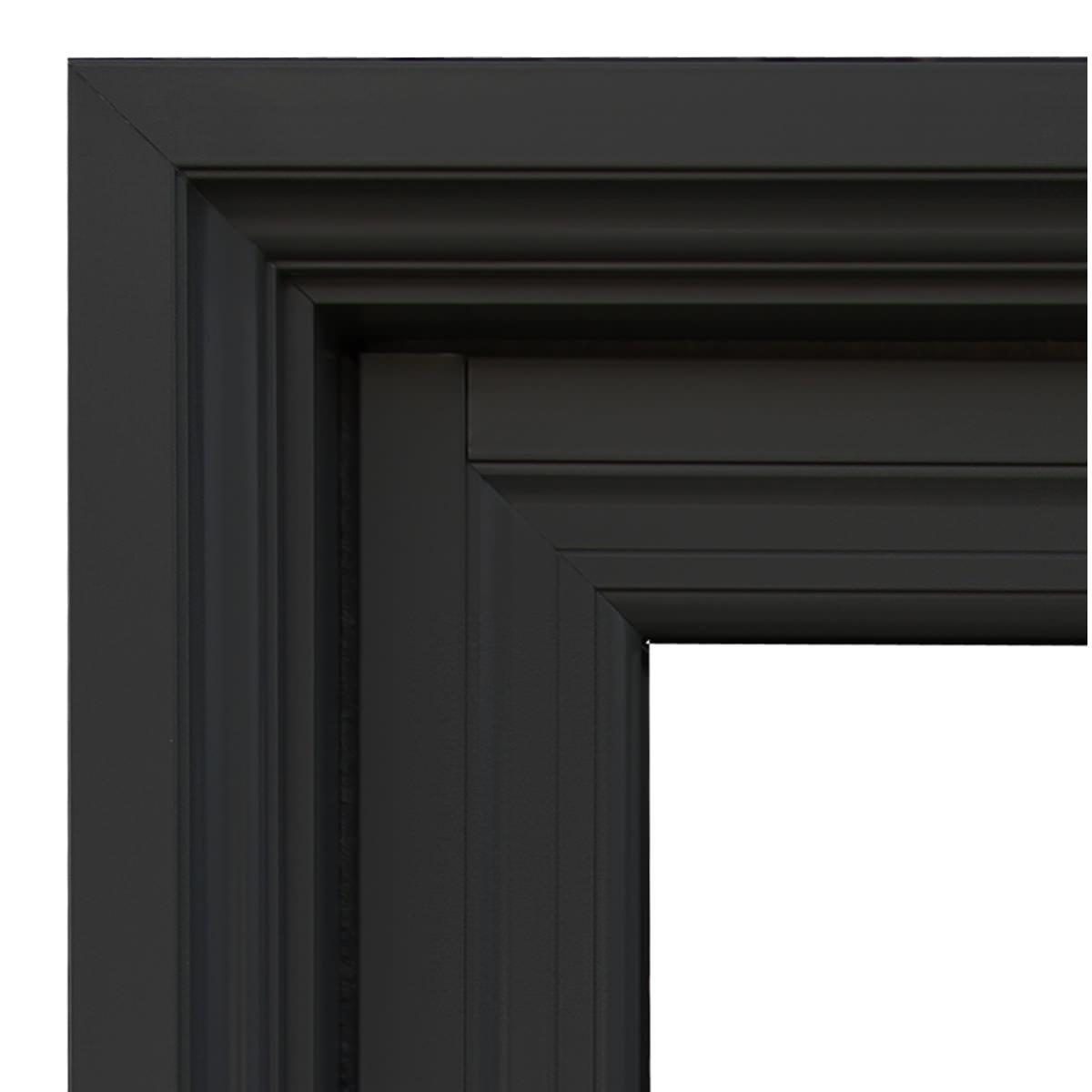 A zoom in of a dark Alumhybrid casement window