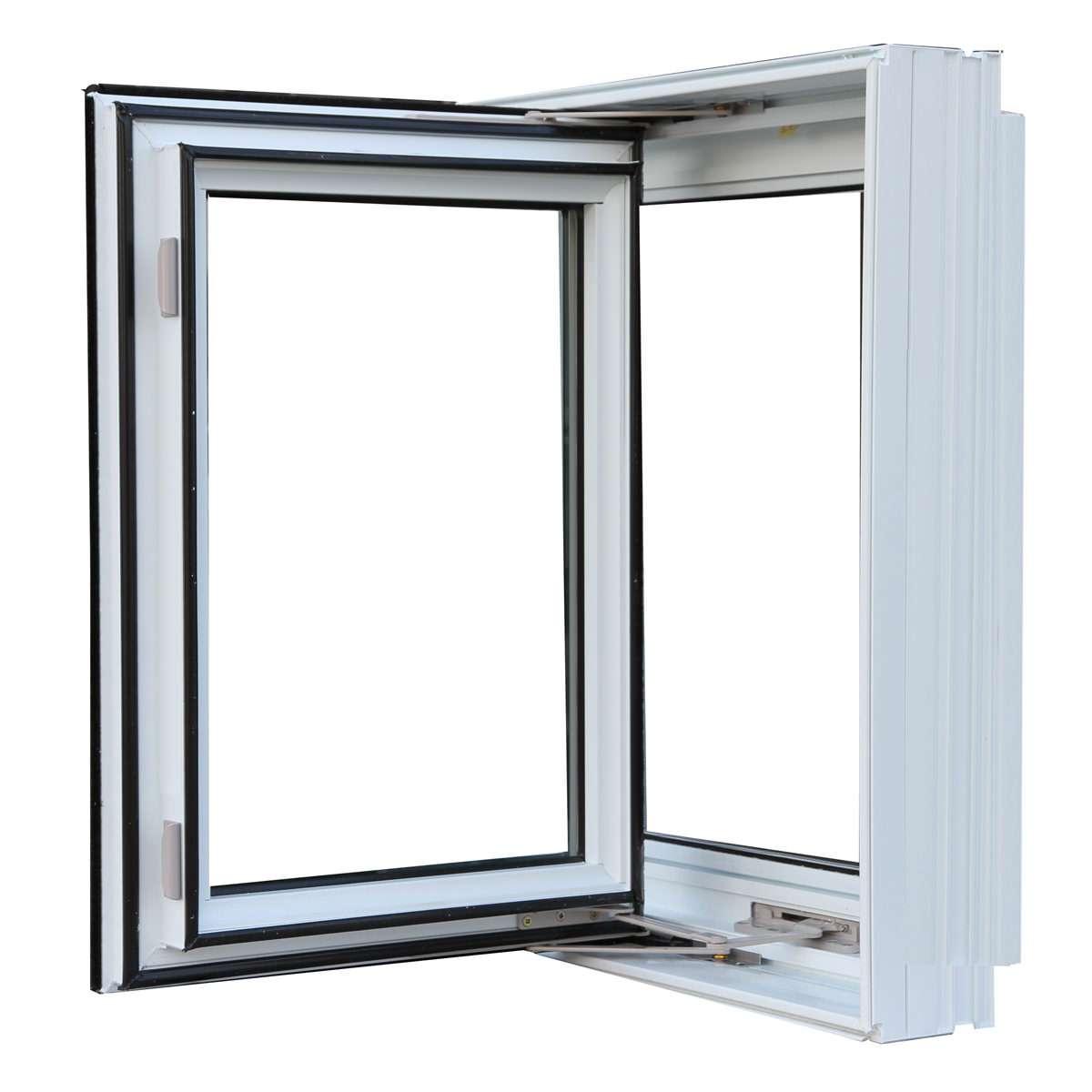 Open white casement window
