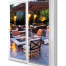 white patio door with backyard view and patio set with campfire