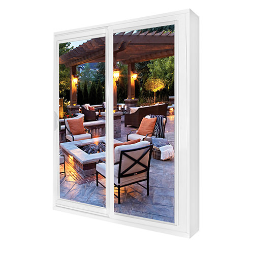 White patio door with backyard view