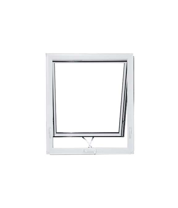 front view of an open white vinyl awning window