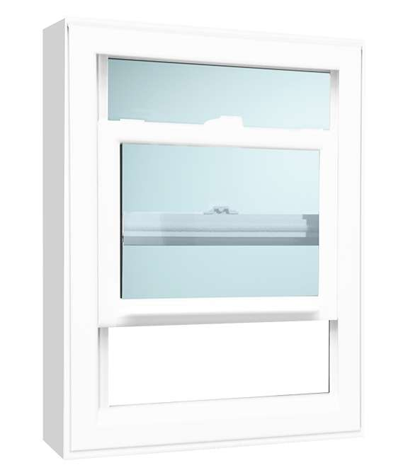 Side view of a white open Single Hung Windows Model 2030 with a light blue background