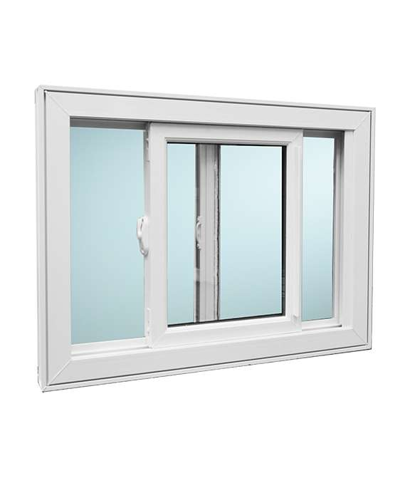 White open Single Tilt Slider Windows Model 2500 with a light blue background