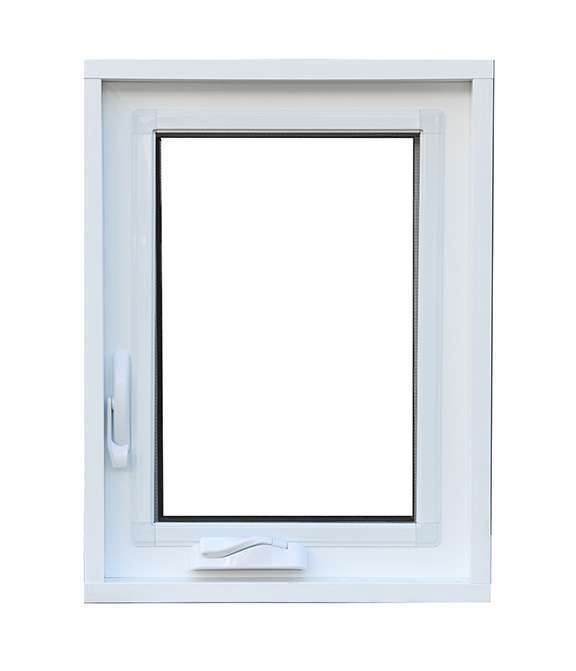 front view of a white vinyl casement window with two handles