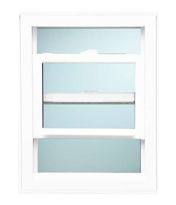 Front view of a white open Single Hung Windows Model 2030 with a light blue background
