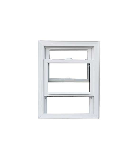 front view of a white vinyl hung window