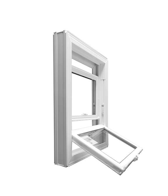side view of a white vinyl hung window