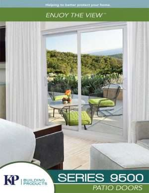 A series 9500 patio door brochure with a view on an open terrace. and patio set.
